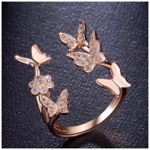 Gold Filled Crystal Butterfly Open Adjustable Ring